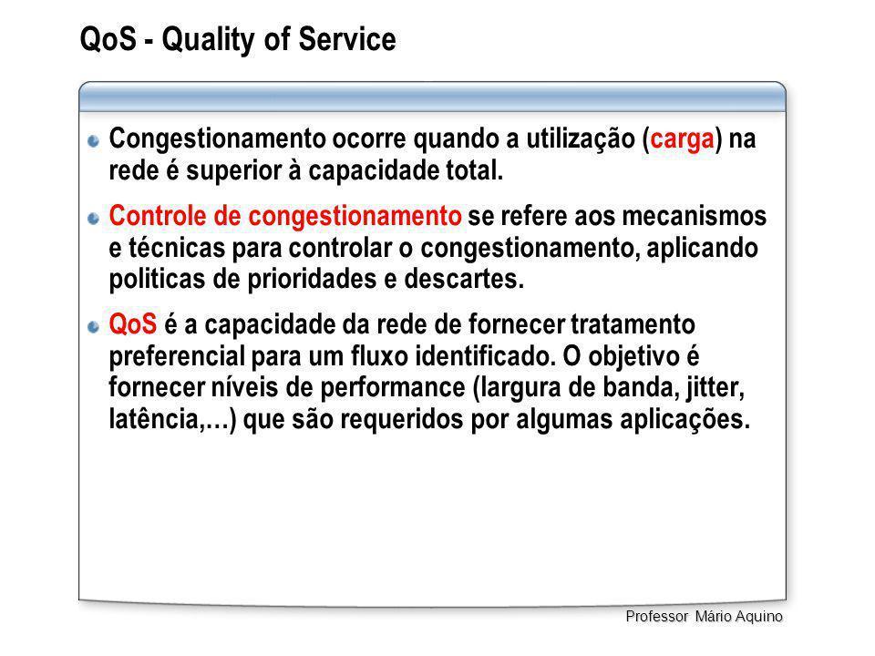 QoS - Quality of Service Congestionamento ocorre quando a utilização (carga) na rede é superior à capacidade total. Controle de congestionamento se re