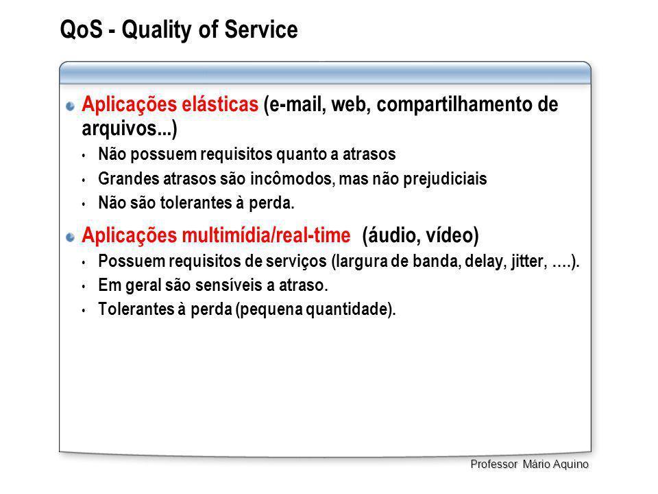 QoS - Quality of Service Aplicações elásticas (e-mail, web, compartilhamento de arquivos...) • Não possuem requisitos quanto a atrasos • Grandes atrasos são incômodos, mas não prejudiciais • Não são tolerantes à perda.