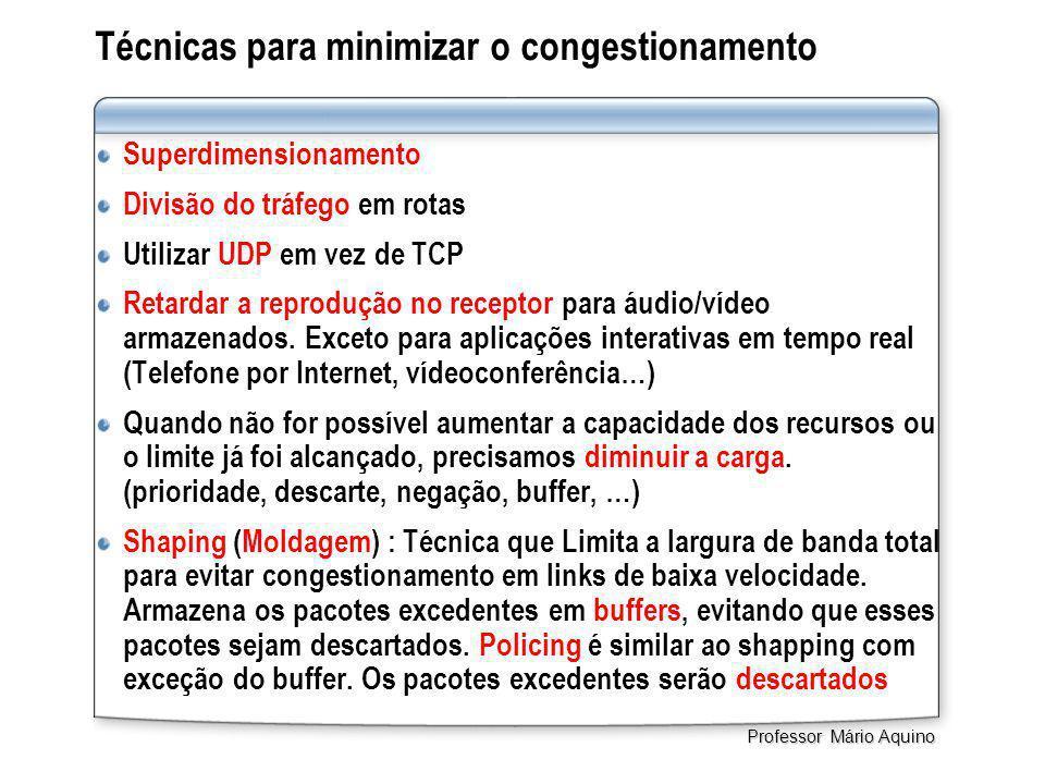 Técnicas para minimizar o congestionamento Superdimensionamento Divisão do tráfego em rotas Utilizar UDP em vez de TCP Retardar a reprodução no receptor para áudio/vídeo armazenados.