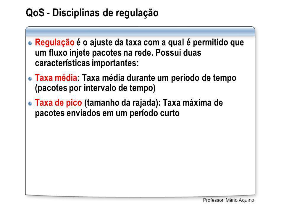 QoS - Disciplinas de regulação Regulação é o ajuste da taxa com a qual é permitido que um fluxo injete pacotes na rede. Possui duas características im