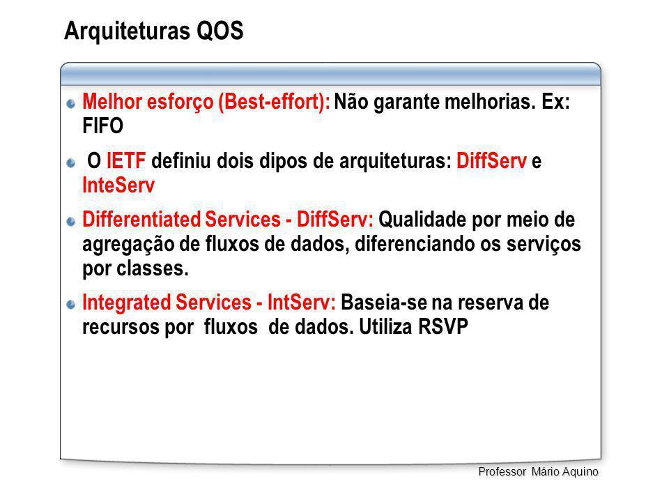 Arquiteturas QOS Melhor esforço (Best-effort): Não garante melhorias. Ex: FIFO O IETF definiu dois dipos de arquiteturas: DiffServ e InteServ Differen