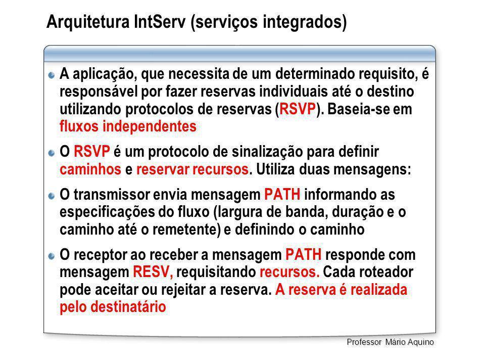 Arquitetura IntServ (serviços integrados) A aplicação, que necessita de um determinado requisito, é responsável por fazer reservas individuais até o destino utilizando protocolos de reservas (RSVP).