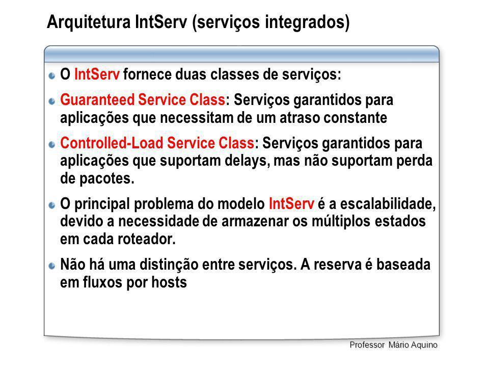 Arquitetura IntServ (serviços integrados) O IntServ fornece duas classes de serviços: Guaranteed Service Class: Serviços garantidos para aplicações que necessitam de um atraso constante Controlled-Load Service Class: Serviços garantidos para aplicações que suportam delays, mas não suportam perda de pacotes.