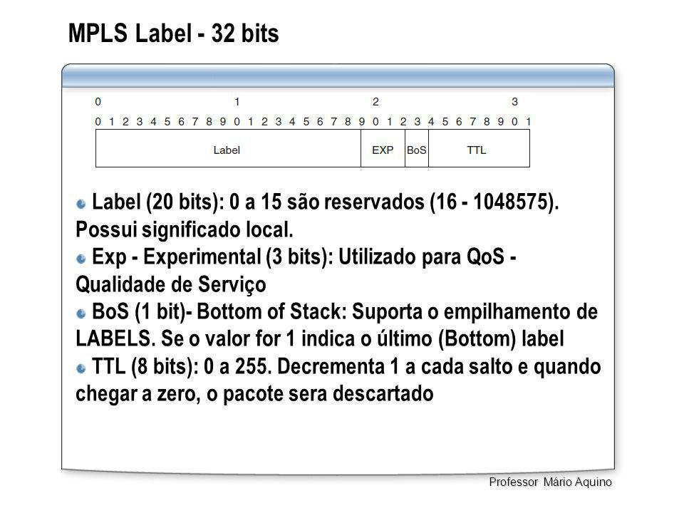 MPLS Label - 32 bits Label (20 bits): 0 a 15 são reservados (16 - 1048575). Possui significado local. Exp - Experimental (3 bits): Utilizado para QoS
