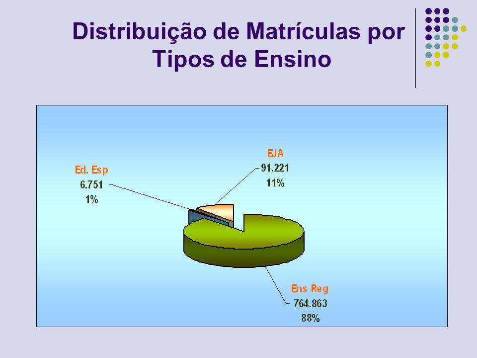 Total de Escolas e Matrículas por Dependência Administrativa Dependência AdministrativaTotal de EscolasTotal de Matrículas Federal33.349 Estadual661439.165 Municipal1.765353.738 Privada33366.583 Total2.762862.835