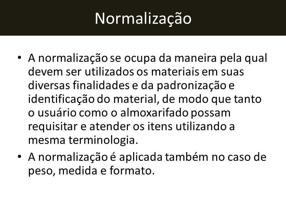 Normalização • A normalização se ocupa da maneira pela qual devem ser utilizados os materiais em suas diversas finalidades e da padronização e identif