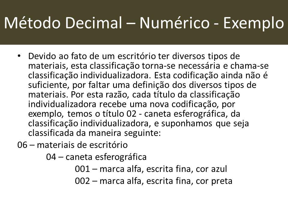 Método Decimal – Numérico - Exemplo • Devido ao fato de um escritório ter diversos tipos de materiais, esta classificação torna-se necessária e chama-