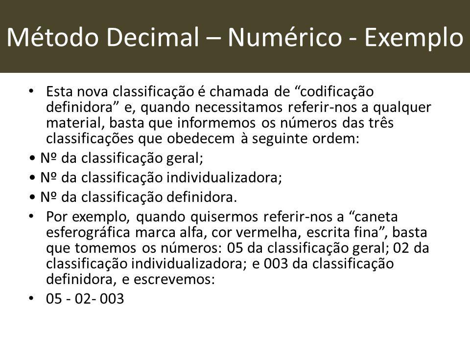 """Método Decimal – Numérico - Exemplo • Esta nova classificação é chamada de """"codificação definidora"""" e, quando necessitamos referir-nos a qualquer mate"""