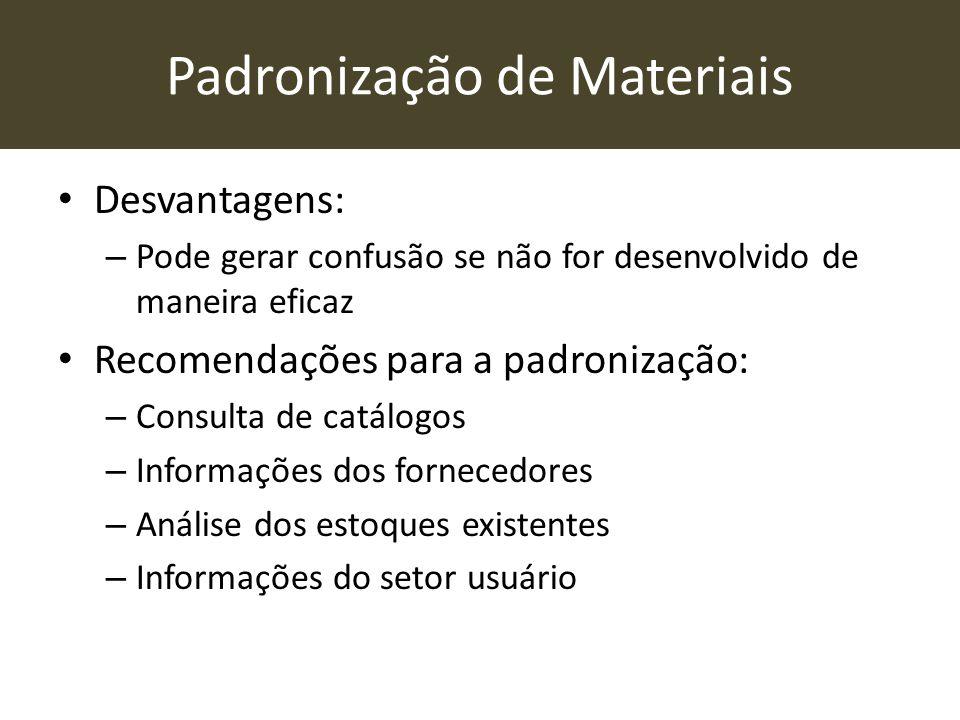 Padronização de Materiais • Desvantagens: – Pode gerar confusão se não for desenvolvido de maneira eficaz • Recomendações para a padronização: – Consu