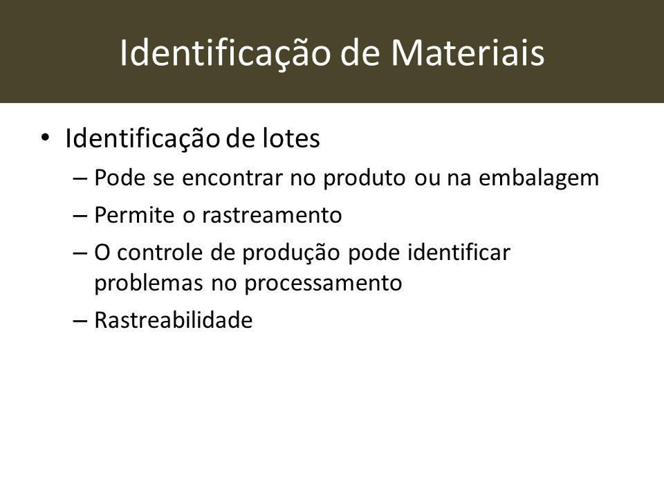 Identificação de Materiais • Identificação de lotes – Pode se encontrar no produto ou na embalagem – Permite o rastreamento – O controle de produção p
