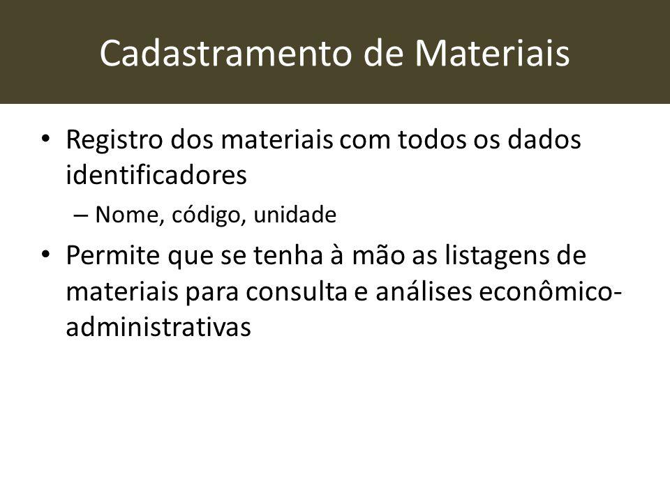 Cadastramento de Materiais • Registro dos materiais com todos os dados identificadores – Nome, código, unidade • Permite que se tenha à mão as listage