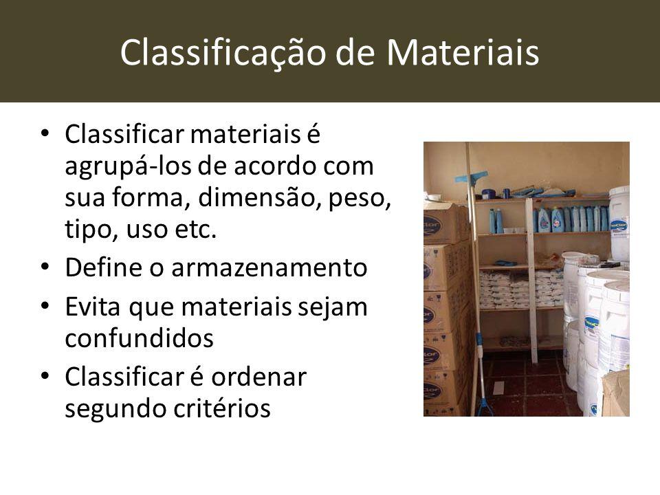 Classificação de Materiais • Classificar materiais é agrupá-los de acordo com sua forma, dimensão, peso, tipo, uso etc. • Define o armazenamento • Evi