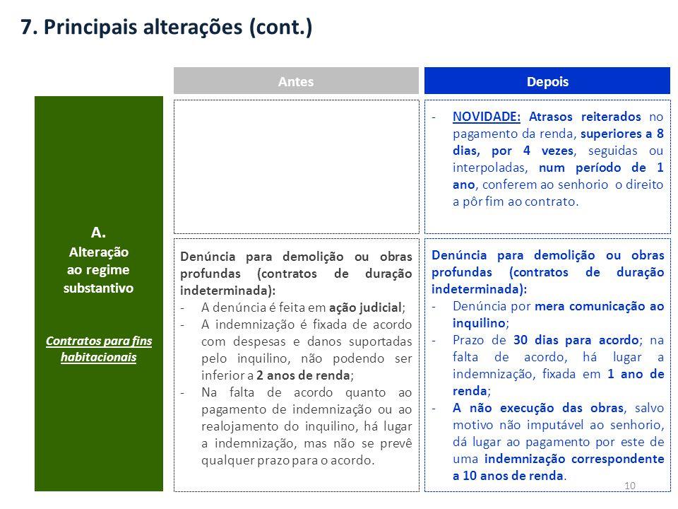 7. Principais alterações (cont.) A.