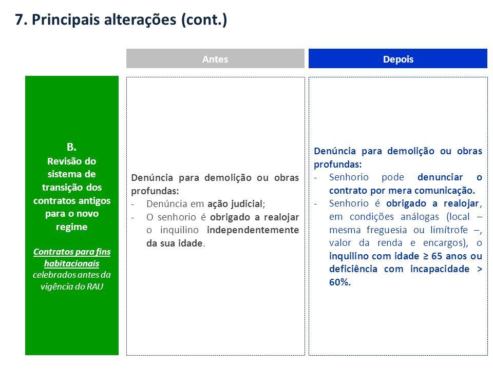 7. Principais alterações (cont.) AntesDepois B. Revisão do sistema de transição dos contratos antigos para o novo regime Contratos para fins habitacio