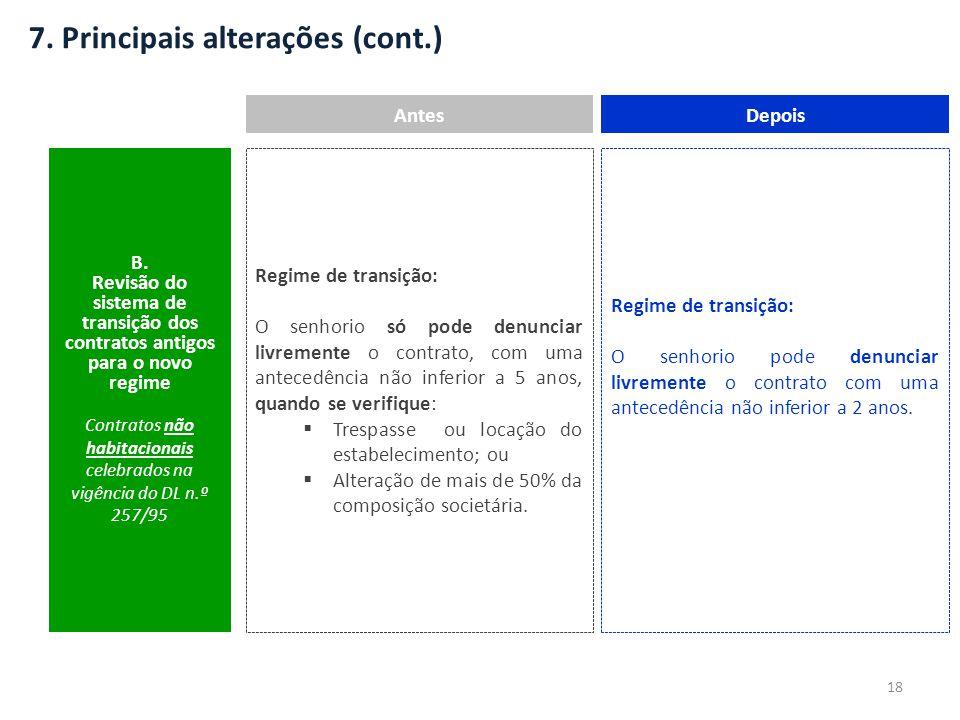 7. Principais alterações (cont.) AntesDepois B. Revisão do sistema de transição dos contratos antigos para o novo regime Contratos não habitacionais c