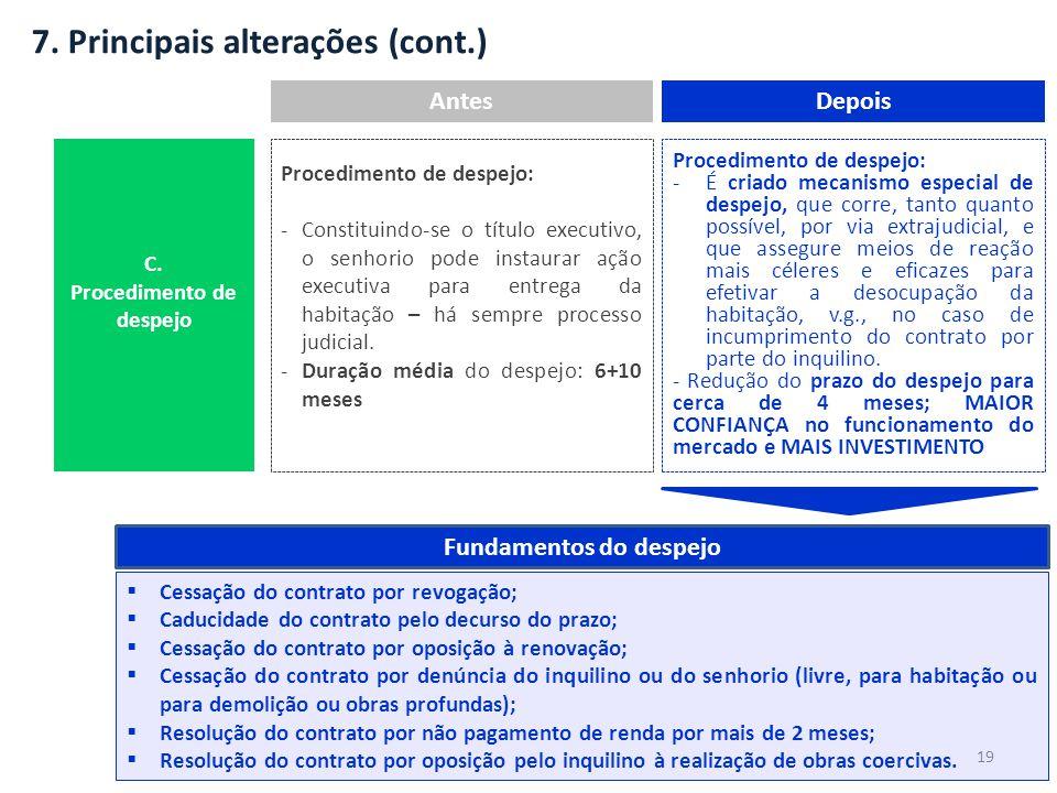 7. Principais alterações (cont.) AntesDepois Procedimento de despejo: -Constituindo-se o título executivo, o senhorio pode instaurar ação executiva pa