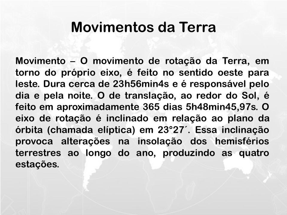 Movimento – O movimento de rotação da Terra, em torno do próprio eixo, é feito no sentido oeste para leste.