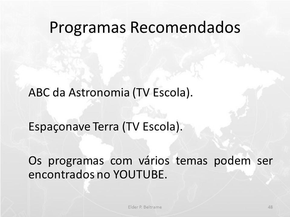 Programas Recomendados ABC da Astronomia (TV Escola). Espaçonave Terra (TV Escola). Os programas com vários temas podem ser encontrados no YOUTUBE. El