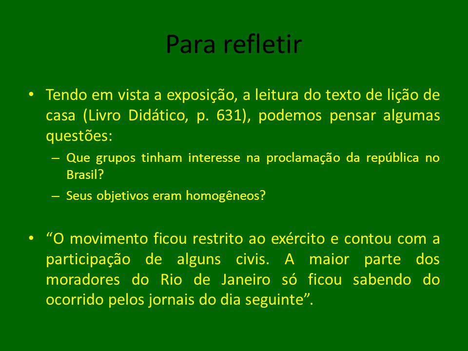 Para refletir • Tendo em vista a exposição, a leitura do texto de lição de casa (Livro Didático, p.