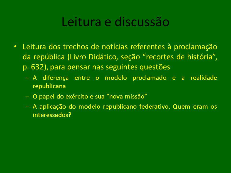 Leitura e discussão • Leitura dos trechos de notícias referentes à proclamação da república (Livro Didático, seção recortes de história , p.