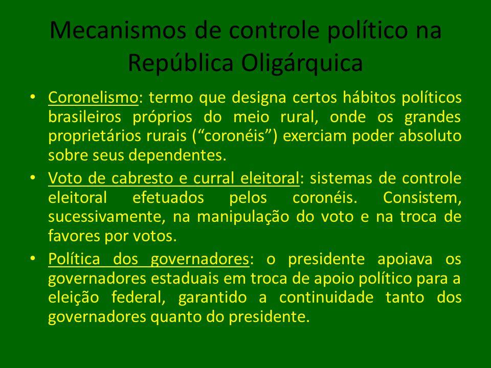 Mecanismos de controle político na República Oligárquica • Coronelismo: termo que designa certos hábitos políticos brasileiros próprios do meio rural, onde os grandes proprietários rurais ( coronéis ) exerciam poder absoluto sobre seus dependentes.