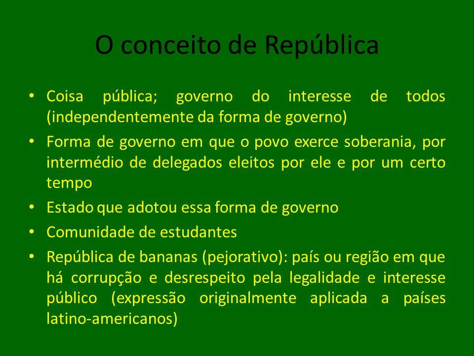 O conceito de República • Coisa pública; governo do interesse de todos (independentemente da forma de governo) • Forma de governo em que o povo exerce