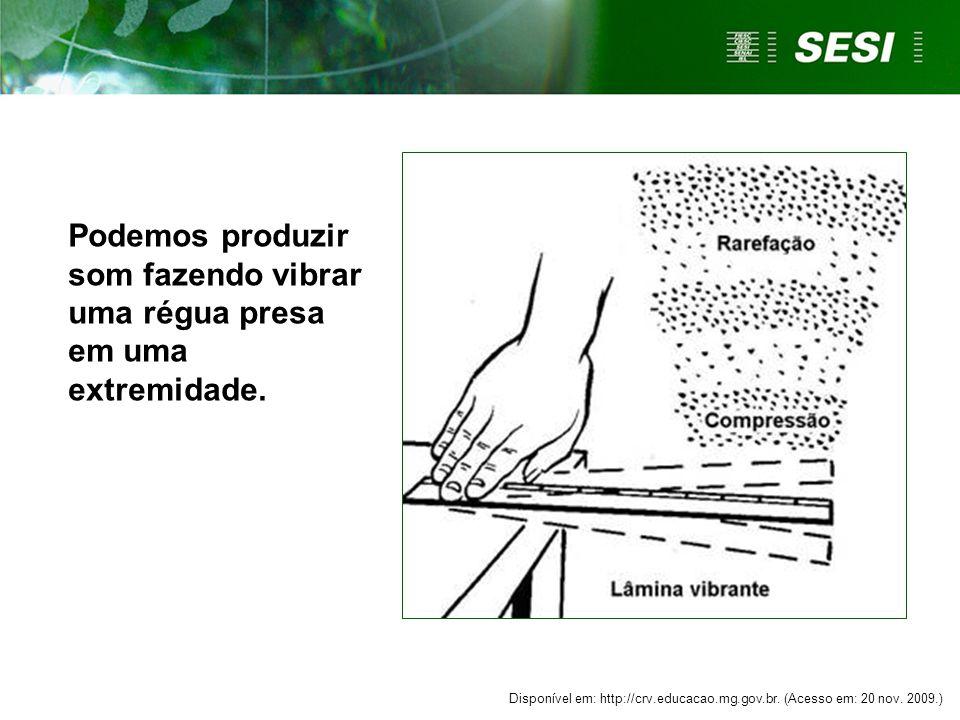 Podemos produzir som fazendo vibrar uma régua presa em uma extremidade. Disponível em: http://crv.educacao.mg.gov.br. (Acesso em: 20 nov. 2009.)
