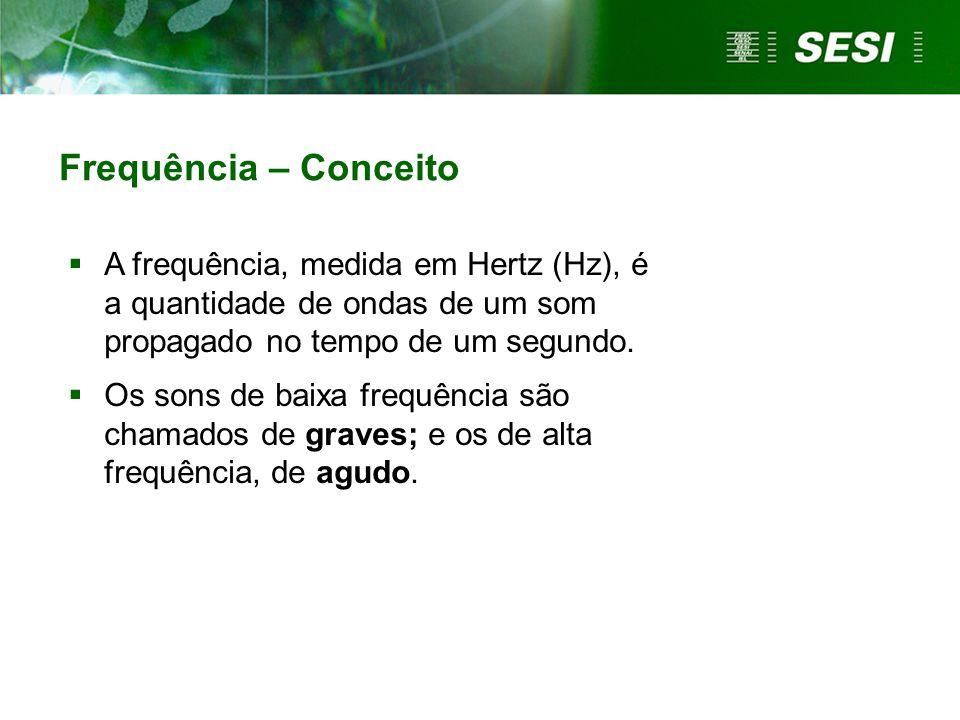Frequência – Conceito  A frequência, medida em Hertz (Hz), é a quantidade de ondas de um som propagado no tempo de um segundo.  Os sons de baixa fre