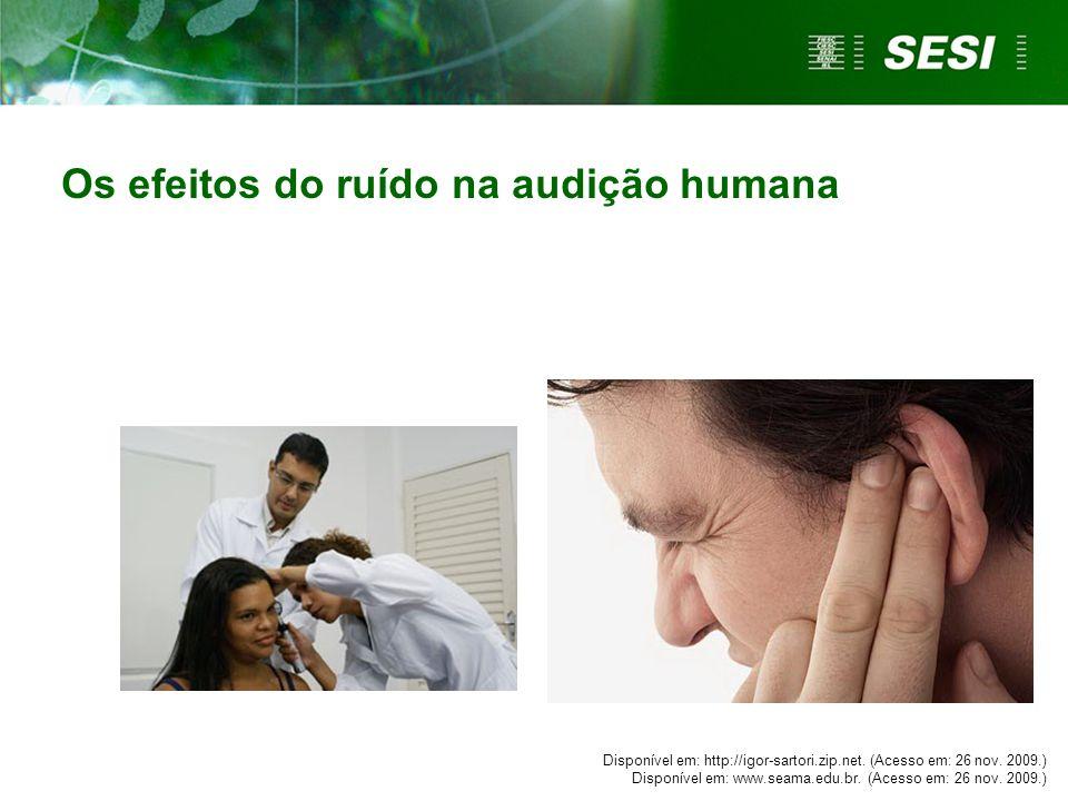 Disponível em: http://igor-sartori.zip.net. (Acesso em: 26 nov. 2009.) Disponível em: www.seama.edu.br. (Acesso em: 26 nov. 2009.) Os efeitos do ruído