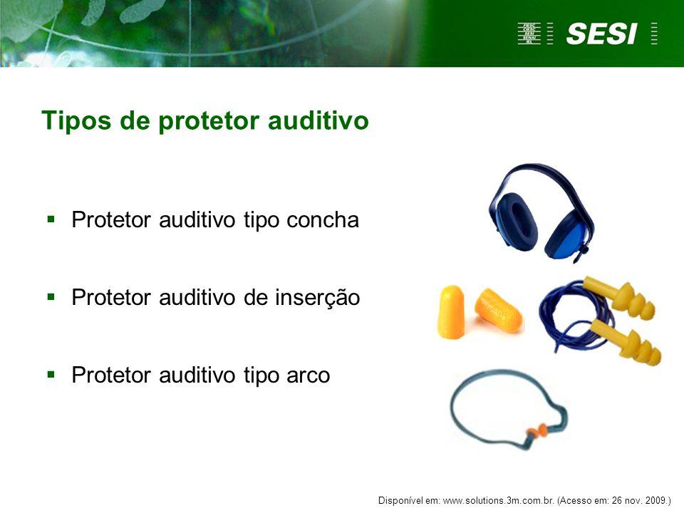 Tipos de protetor auditivo  Protetor auditivo tipo concha  Protetor auditivo de inserção  Protetor auditivo tipo arco Disponível em: www.solutions.