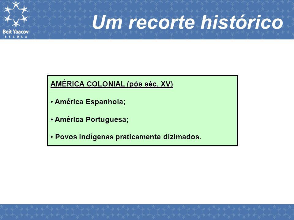 AMÉRICA COLONIAL (pós séc. XV) • América Espanhola; • América Portuguesa; • Povos indígenas praticamente dizimados. Um recorte histórico