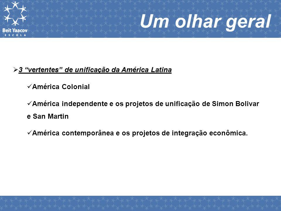 """Um olhar geral 3 """"vertentes"""" de unificação da América Latina  3 """"vertentes"""" de unificação da América Latina  América Colonial  América independente"""
