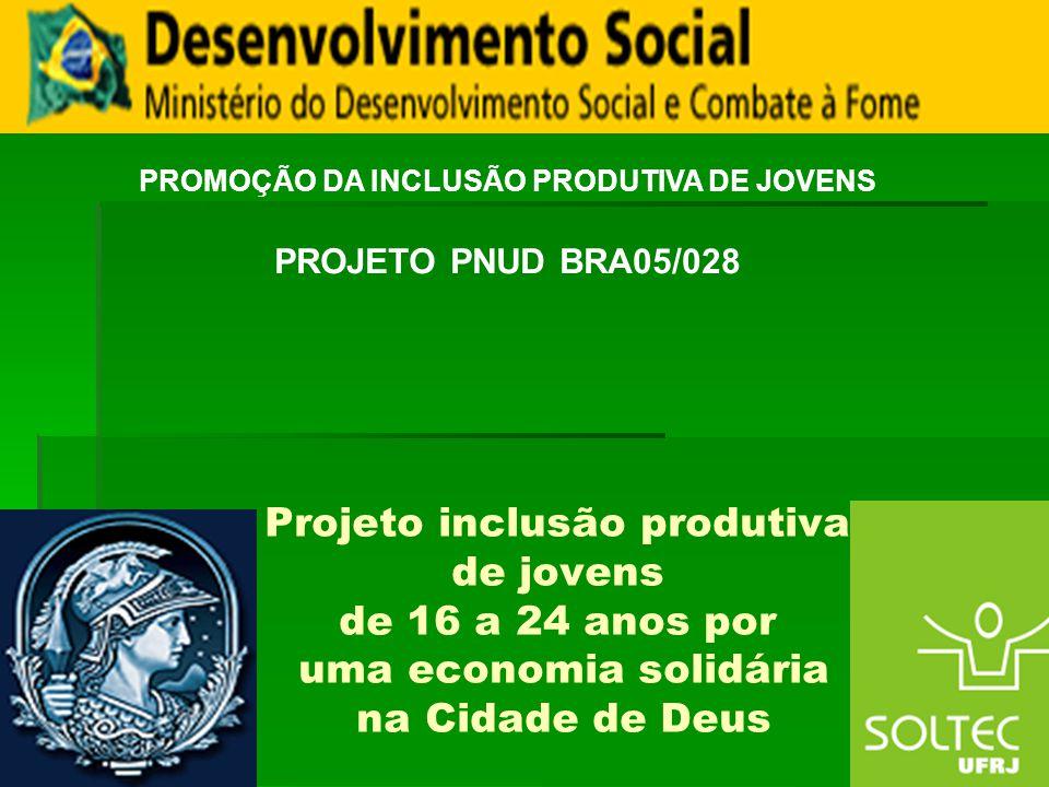 Projeto inclusão produtiva de jovens de 16 a 24 anos por uma economia solidária na Cidade de Deus PROMOÇÃO DA INCLUSÃO PRODUTIVA DE JOVENS PROJETO PNU