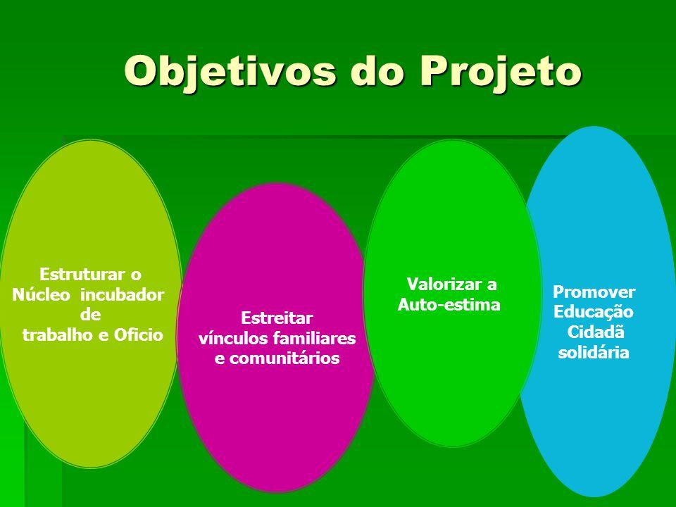 Objetivos do Projeto Objetivos do Projeto Estruturar o Núcleo incubador de trabalho e Oficio Promover Educação Cidadã solidária Estreitar vínculos fam