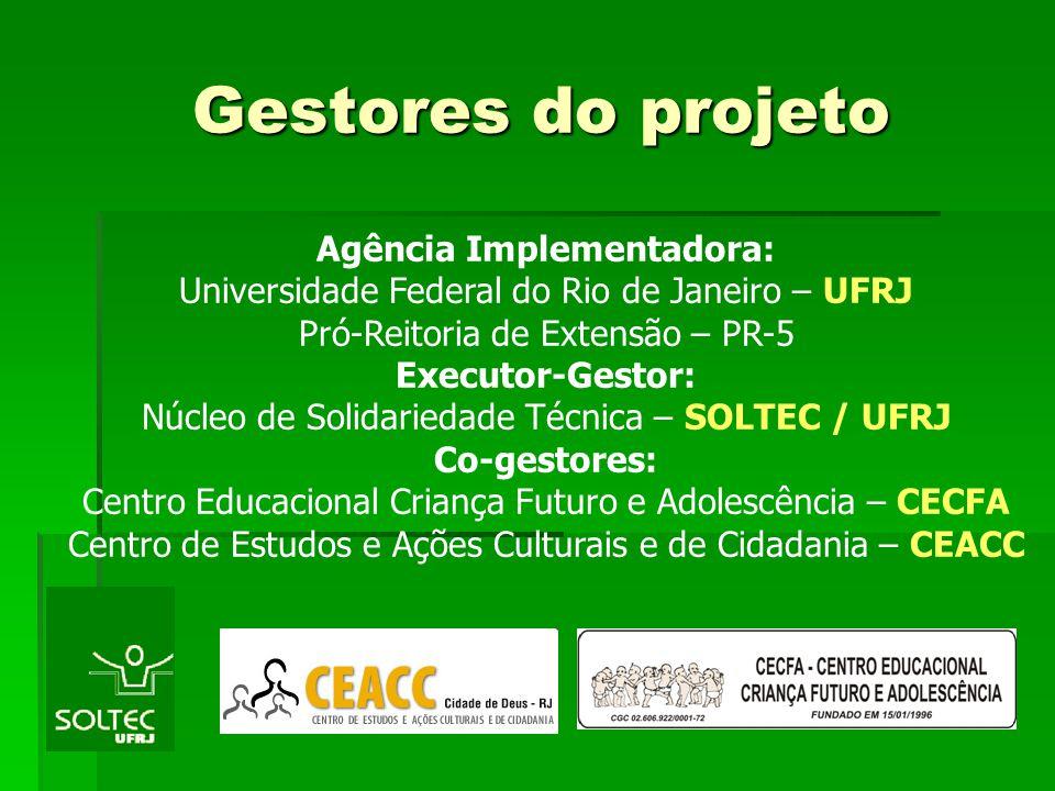 Gestores do projeto Gestores do projeto Agência Implementadora: Universidade Federal do Rio de Janeiro – UFRJ Pró-Reitoria de Extensão – PR-5 Executor