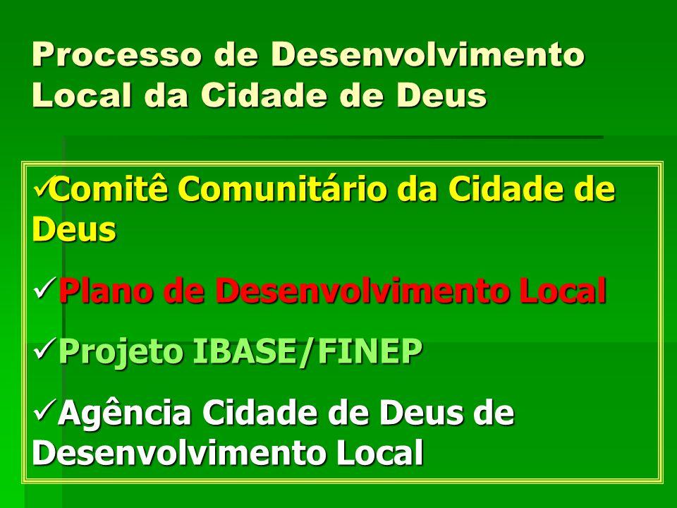 Processo de Desenvolvimento Local da Cidade de Deus  Comitê Comunitário da Cidade de Deus  Plano de Desenvolvimento Local  Projeto IBASE/FINEP  Ag