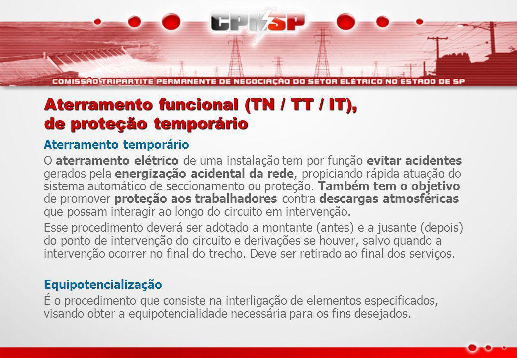 Aterramento funcional (TN / TT / IT), de proteção temporário Aterramento temporário O aterramento elétrico de uma instalação tem por função evitar aci