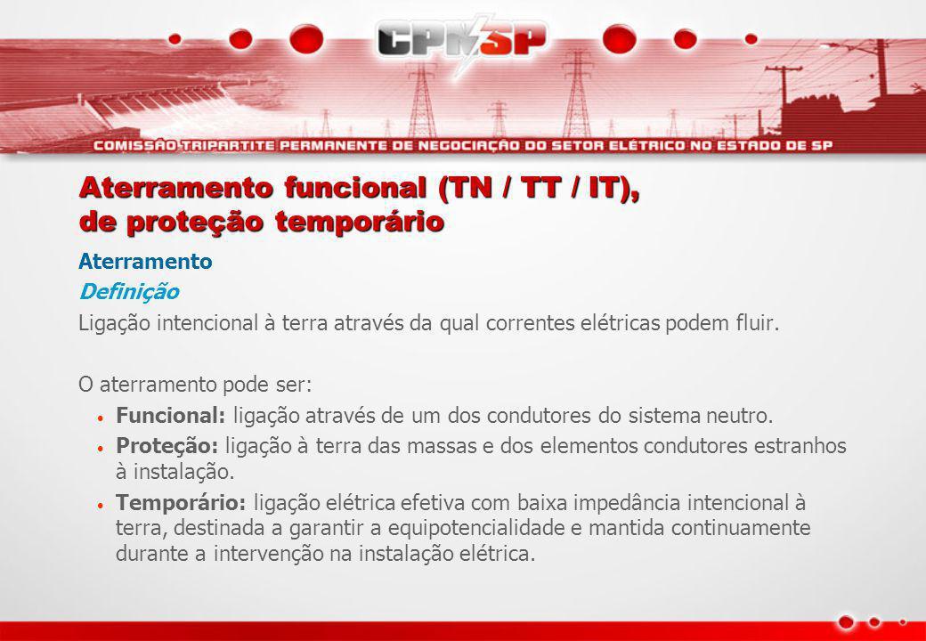 Aterramento funcional (TN / TT / IT), de proteção temporário Aterramento Definição Ligação intencional à terra através da qual correntes elétricas pod