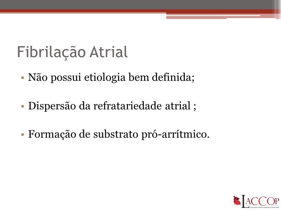Fibrilação Atrial •Não possui etiologia bem definida; •Dispersão da refratariedade atrial ; •Formação de substrato pró-arrítmico.