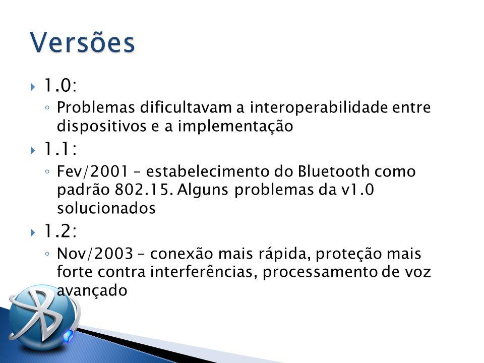  1.0: ◦ Problemas dificultavam a interoperabilidade entre dispositivos e a implementação  1.1: ◦ Fev/2001 – estabelecimento do Bluetooth como padrão 802.15.