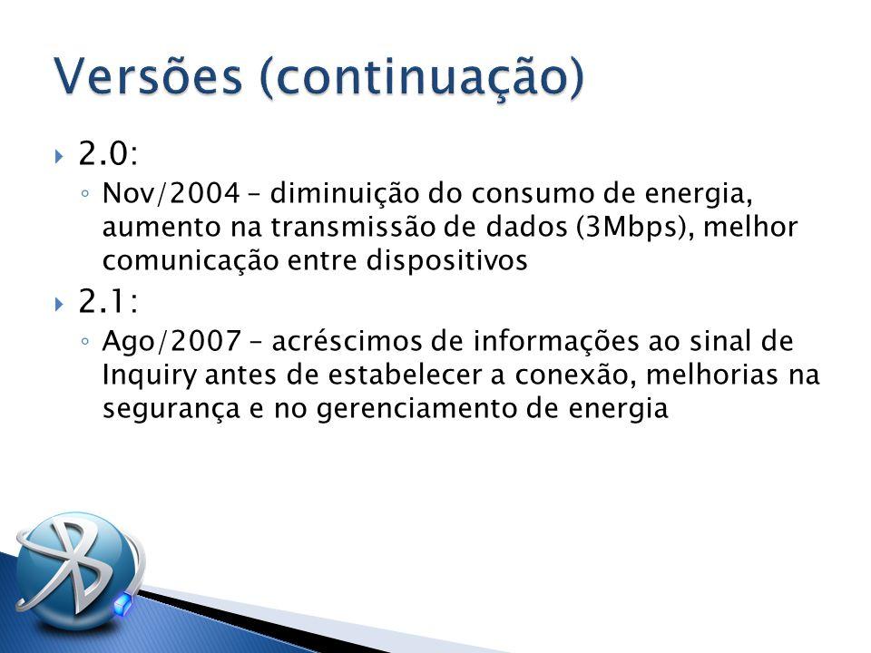  2.0: ◦ Nov/2004 – diminuição do consumo de energia, aumento na transmissão de dados (3Mbps), melhor comunicação entre dispositivos  2.1: ◦ Ago/2007 – acréscimos de informações ao sinal de Inquiry antes de estabelecer a conexão, melhorias na segurança e no gerenciamento de energia