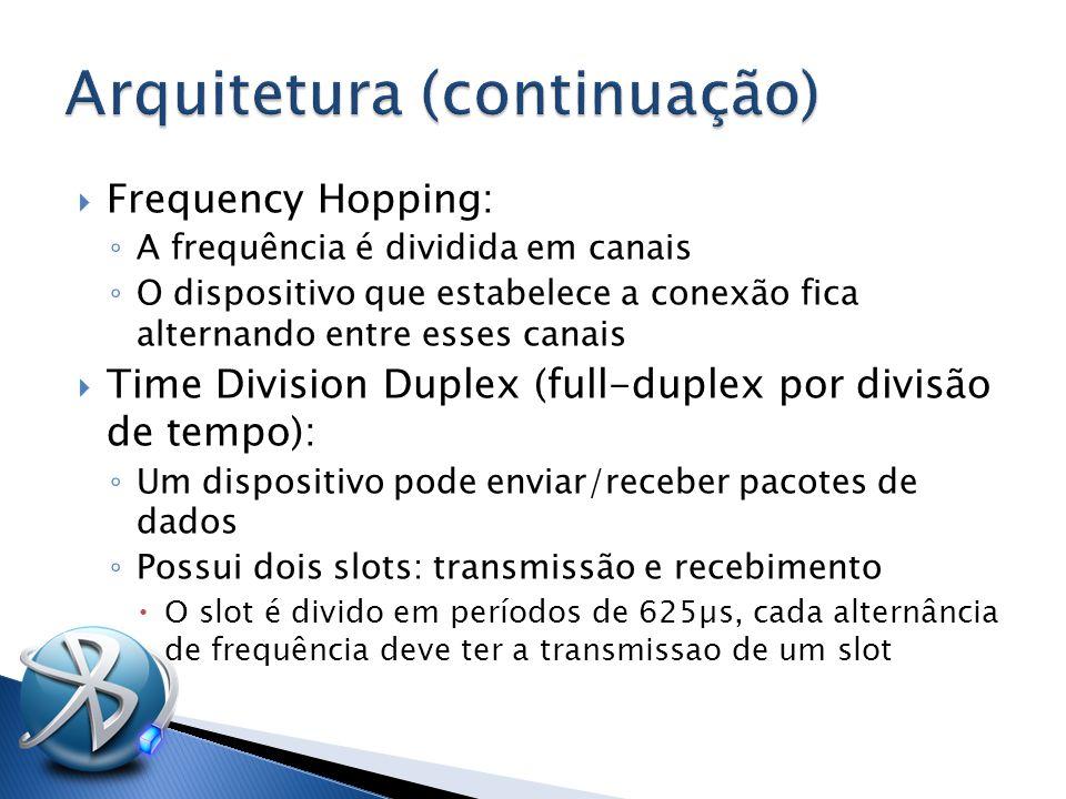  Frequency Hopping: ◦ A frequência é dividida em canais ◦ O dispositivo que estabelece a conexão fica alternando entre esses canais  Time Division Duplex (full-duplex por divisão de tempo): ◦ Um dispositivo pode enviar/receber pacotes de dados ◦ Possui dois slots: transmissão e recebimento  O slot é divido em períodos de 625µs, cada alternância de frequência deve ter a transmissao de um slot