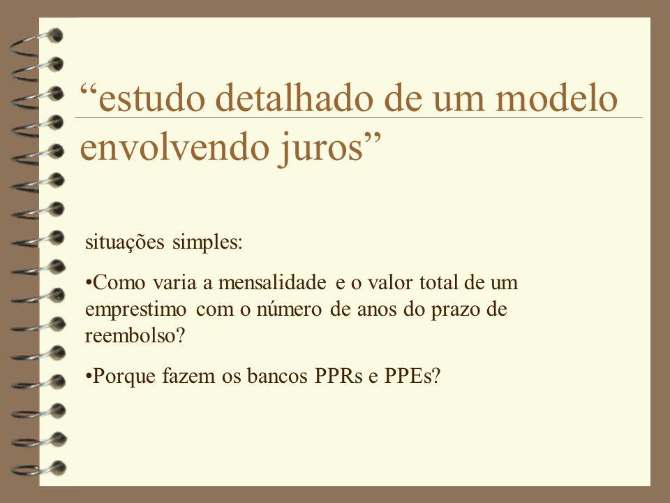 """""""estudo detalhado de um modelo envolvendo juros"""" situações simples: •Como varia a mensalidade e o valor total de um emprestimo com o número de anos do"""