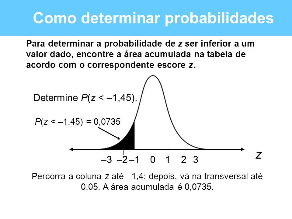 Como determinar probabilidades Para determinar a probabilidade de z ser inferior a um valor dado, encontre a área acumulada na tabela de acordo com o