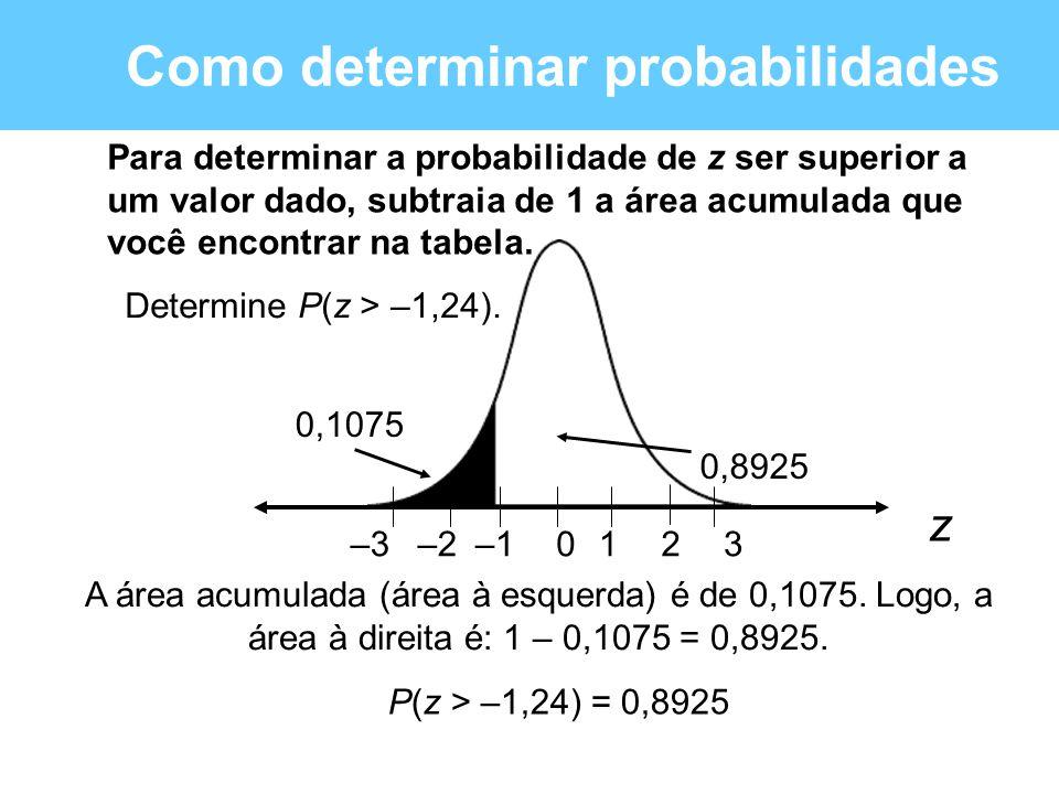 Como determinar probabilidades Para determinar a probabilidade de z ser superior a um valor dado, subtraia de 1 a área acumulada que você encontrar na