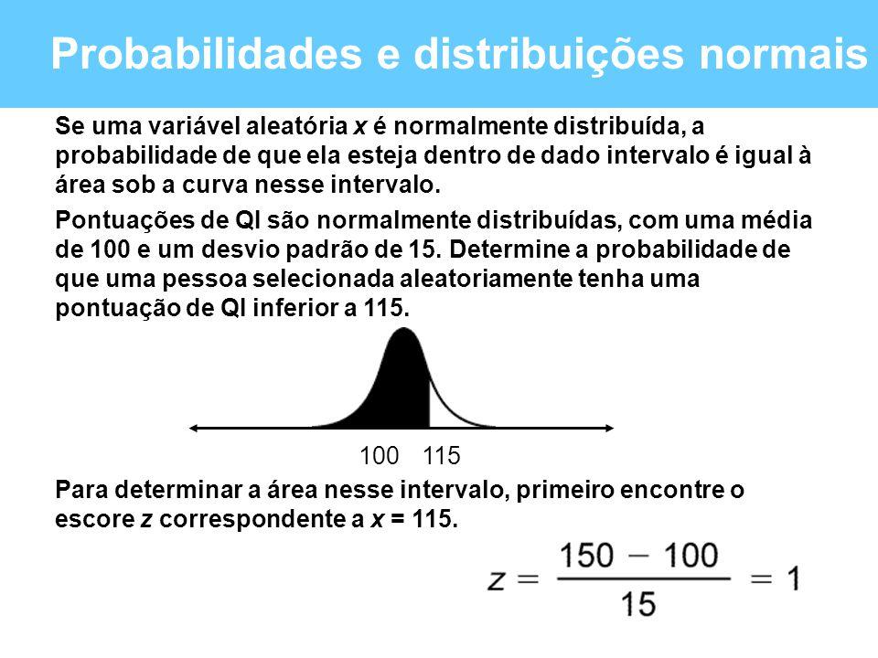 Probabilidades e distribuições normais 115100 Se uma variável aleatória x é normalmente distribuída, a probabilidade de que ela esteja dentro de dado