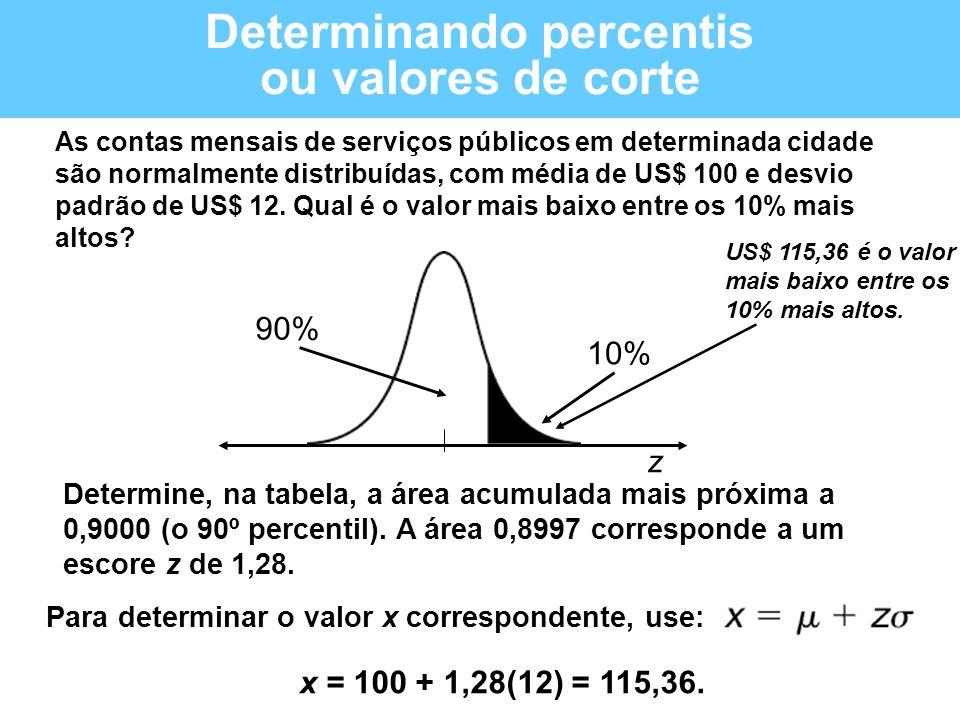 Determinando percentis ou valores de corte As contas mensais de serviços públicos em determinada cidade são normalmente distribuídas, com média de US$