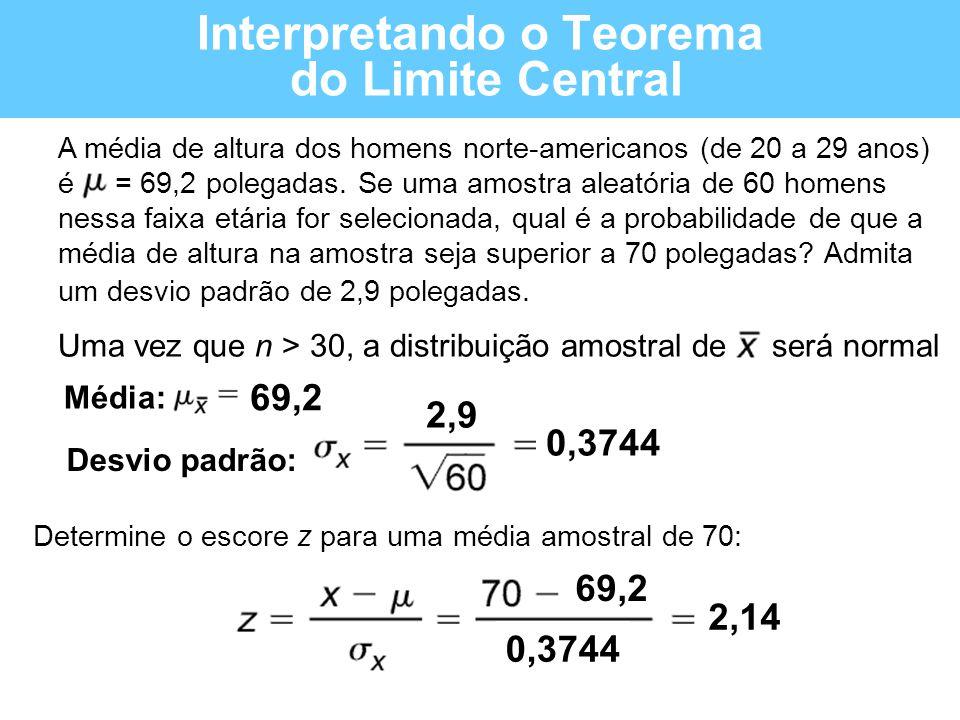 Interpretando o Teorema do Limite Central A média de altura dos homens norte-americanos (de 20 a 29 anos) é = 69,2 polegadas. Se uma amostra aleatória
