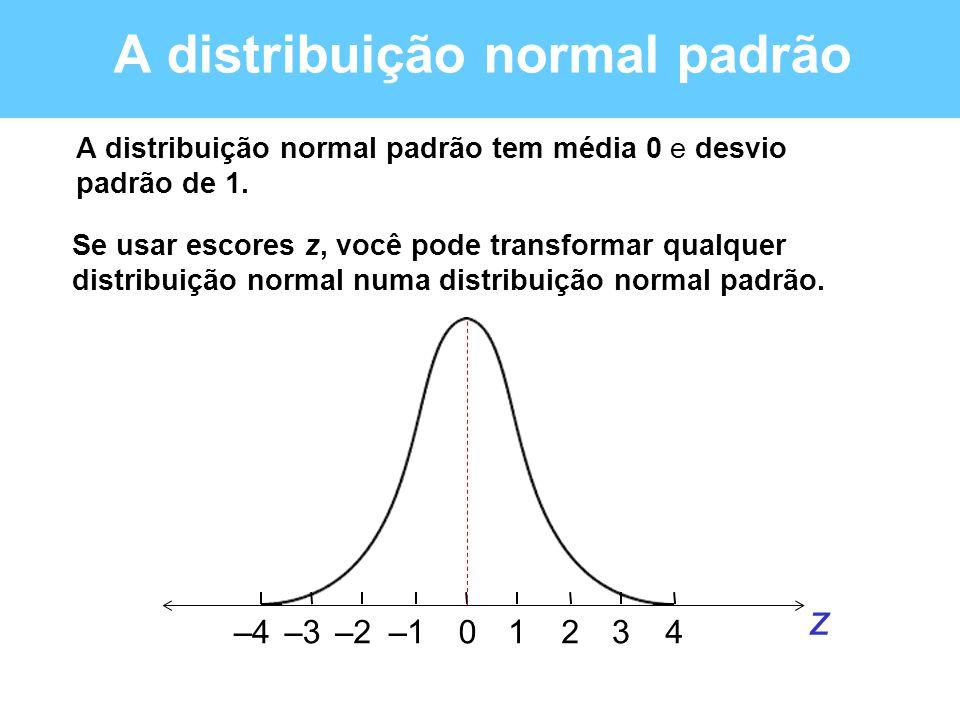 A distribuição normal padrão A distribuição normal padrão tem média 0 e desvio padrão de 1. Se usar escores z, você pode transformar qualquer distribu