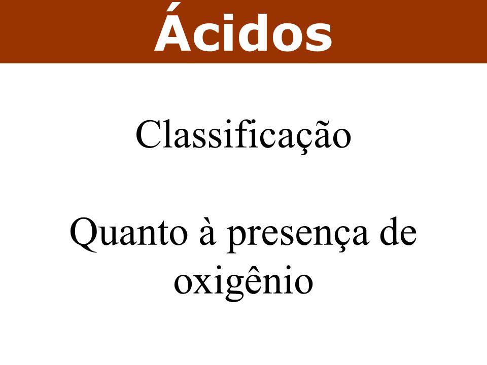 Ácidos Classificação Quanto à presença de oxigênio